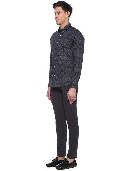Slim Fit Siyah Şal Desenli Logolu Gömlek