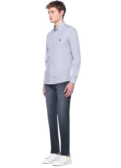 Slim Fit Beyaz Mavi Logolu Mikro Desenli Gömlek