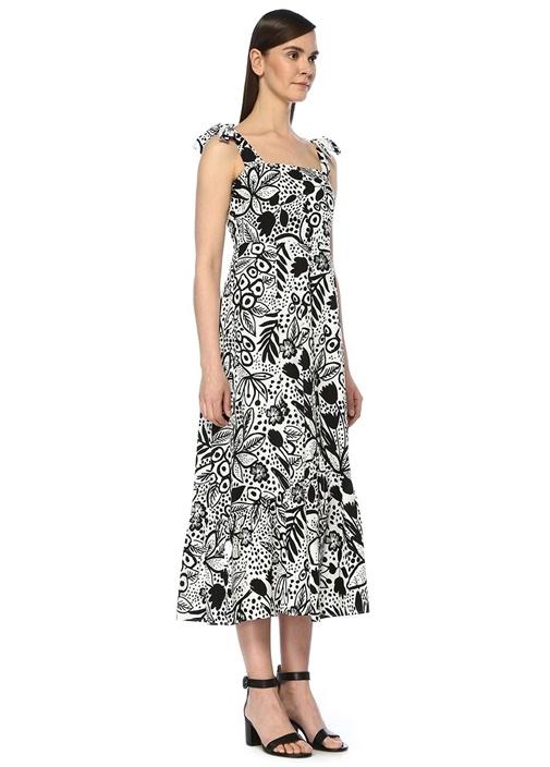 Siyah Beyaz Kare Yaka Çiçekli Midi Poplin Elbise