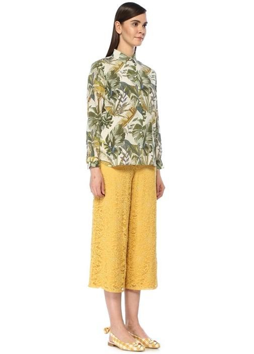 İngiliz Yaka Tropikal Desenli İpek Gömlek