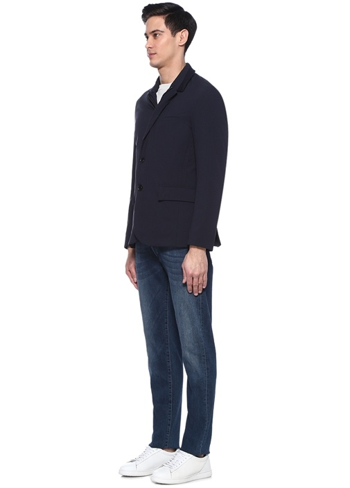 Lacivert Yakası Rib Detaylı Ceket
