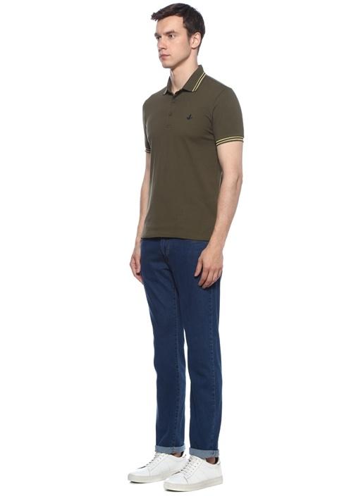 Slim Fit Haki Polo Yaka Logolu T-shirt