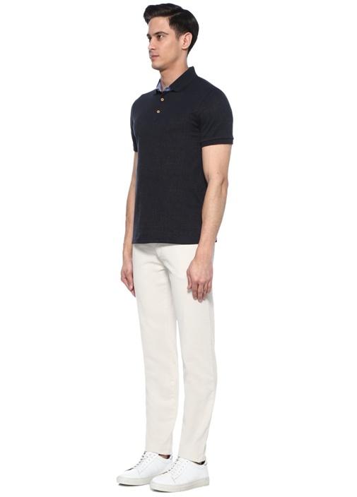 Slim Fit Lacivert Polo Yaka Dokulu Oxford T-shirt