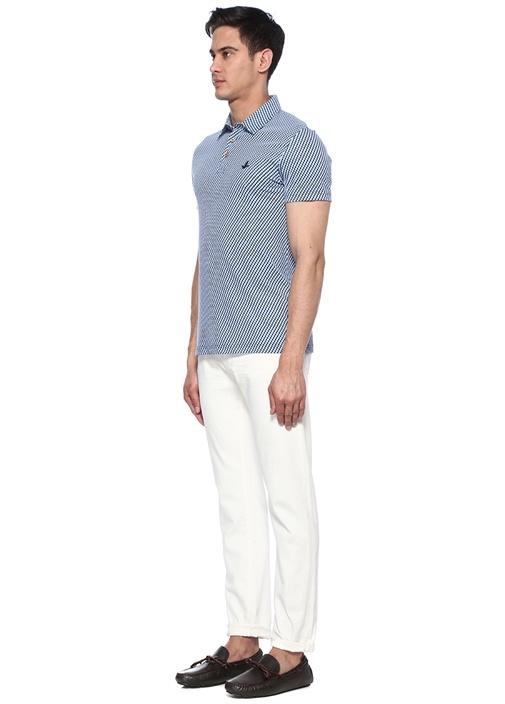 Slim Fit Polo Yaka Geometrik Desenli T-shirt