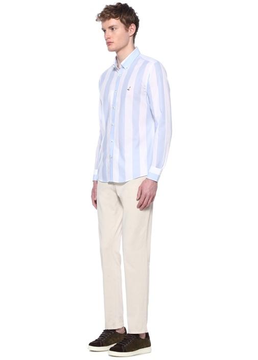 b3b9eca1be5a3 Beymen Club Mavi ERKEK Slim Fit Lacivert Beyaz Kalın Çizgili Gömlek ...