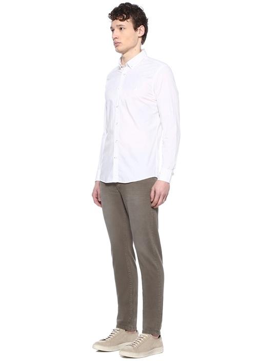 Slim Fit Beyaz Düğmeli Yaka Tonal Baskılı Gömlek