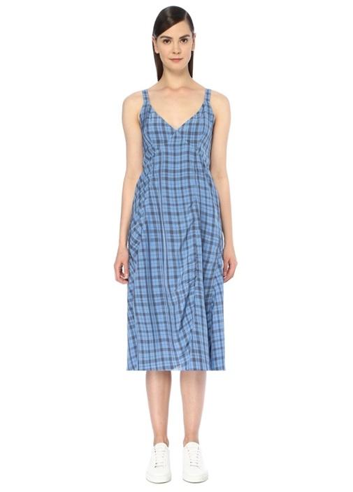 Mavi V Yaka Ekoseli Askılı Midi Elbise