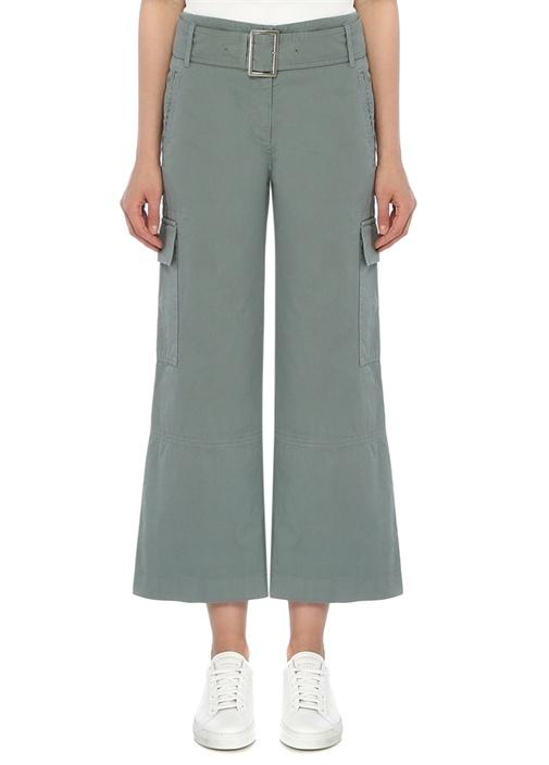 Yeşil Yüksek Bel Kemerli Crop Kargo Pantolon