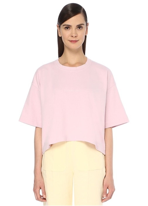 Pembe Logolu Oversize Crop T-shirt