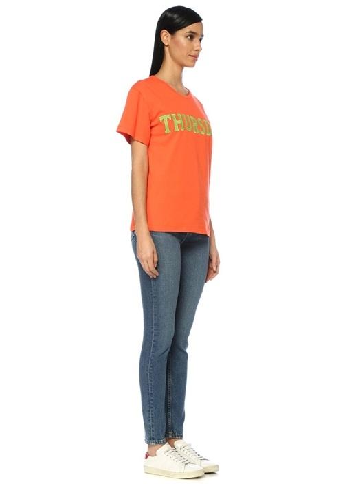 Rainbow Week Turuncu Thursday Nakışlı T-shirt
