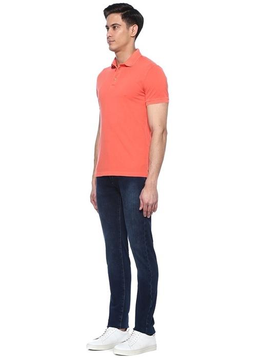 Turuncu Zikzak Doku Detaylı Polo Yaka T-shirt