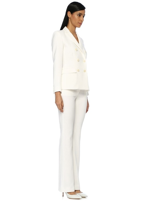 Indiana Beyaz Kırlangıç Yaka Kruvaze Ceket