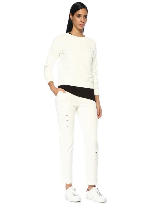 Beyaz Yıpratma Detaylı Jarse Pantolon