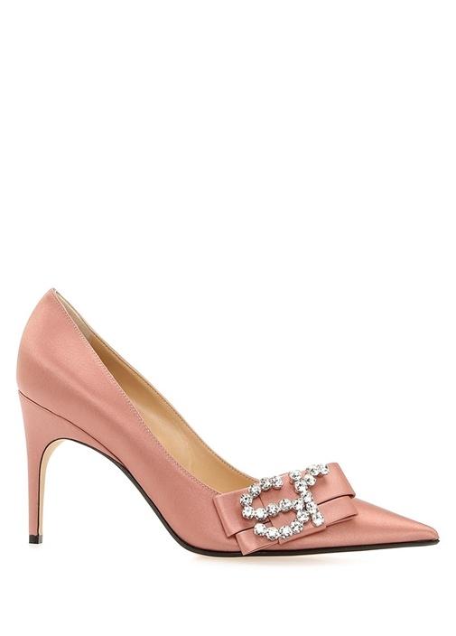 Sergıo Rossı Icona Pembe Logolu Kadın İpek Gece Ayakkabısı – 5950.0 TL