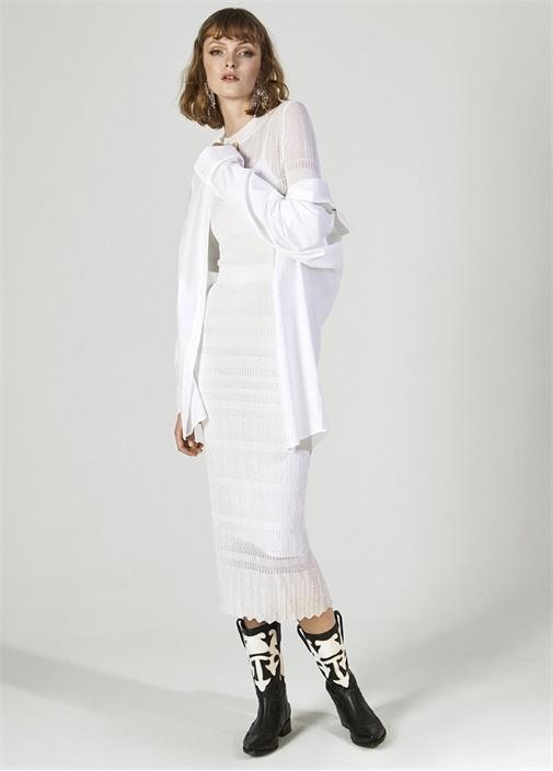 Beyaz Dantel Örgü Uzun Kol Midi Triko Elbise