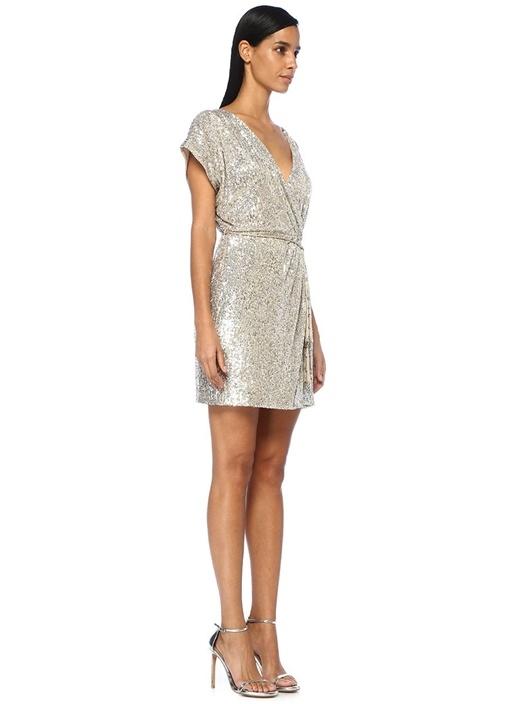 Silver V Yaka Püsküllü Kuşaklı Payetli Mini Elbise