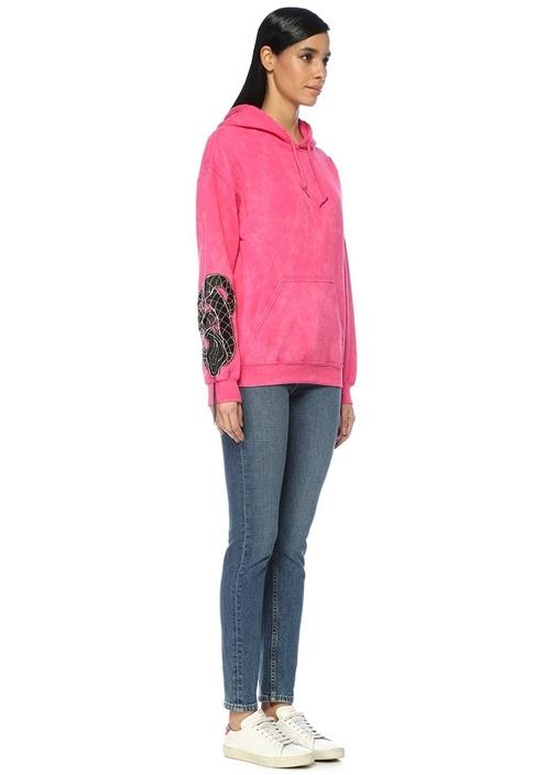 Pembe Kapüşonlu Yılan Patch Detaylı Sweatshirt