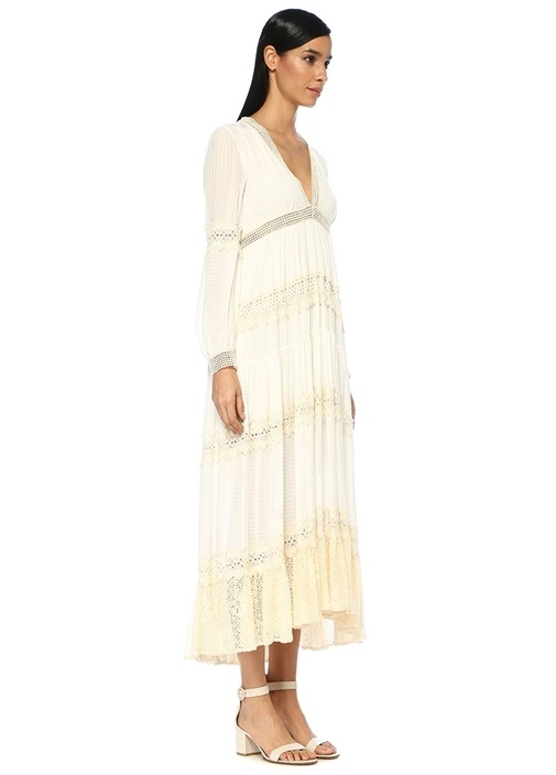 Beyaz V Yaka Dantel Şeritli Uzun Kol Midi Elbise