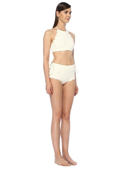 Palm Springs Beyaz Yüksek Bel Bağcıklı Bikini Altı