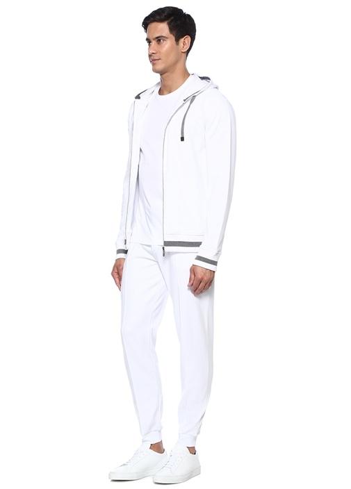 Travel Beyaz Gri Kapüşonlu Sweatshirt