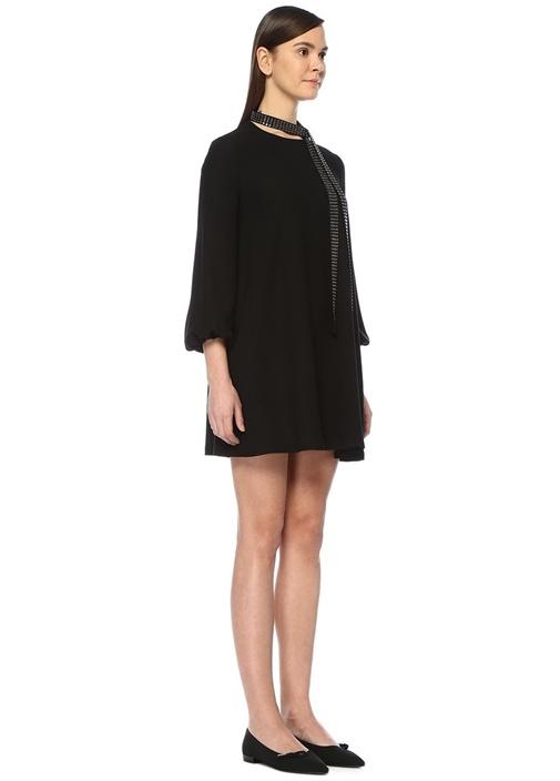 Siyah Taşlı Kuşaklı Uzun Kol Mini Krep Elbise