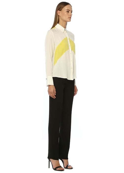 Beyaz İngiliz Yaka Renk Garnili İpek Gömlek