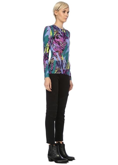 Neon Karalama Desenli Uzun Kol Bluz