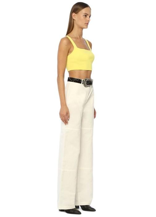 Beyaz Bol Kesim Yüksek Bel Keten Pantolon