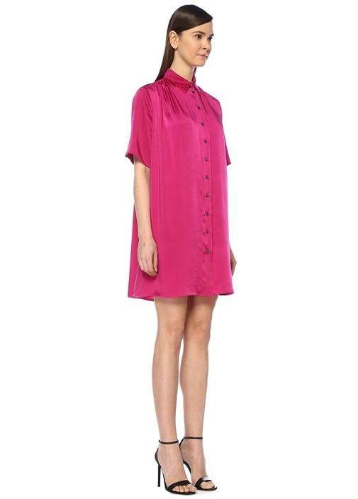 Fuşya Yanı Düğme Detaylı Mini Saten Gömlek Elbise