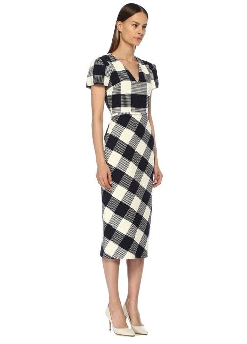 Chaney Lacivert V Yaka Ekoseli Dokulu Midi Elbise