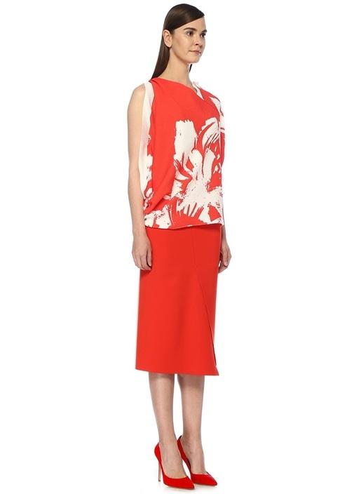 Hopkins Kırmızı Beyaz Desenli Bluz