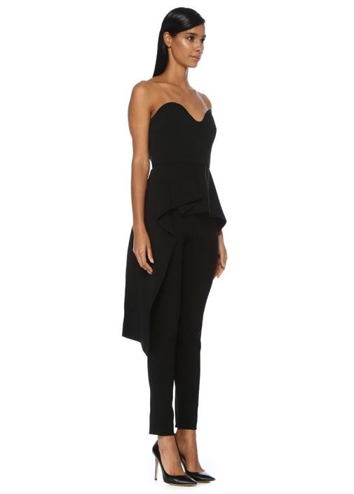 Allyson Siyah Straplez Drape Detaylı Bluz
