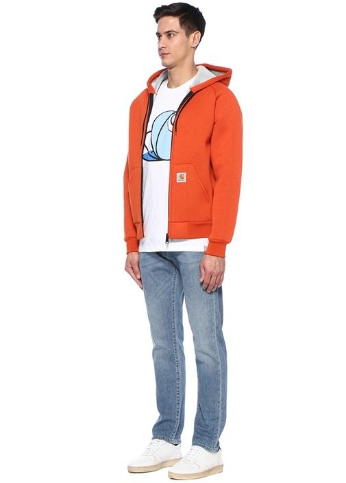 Turuncu Kapüşonlu Logo Patchli Sweatshirt