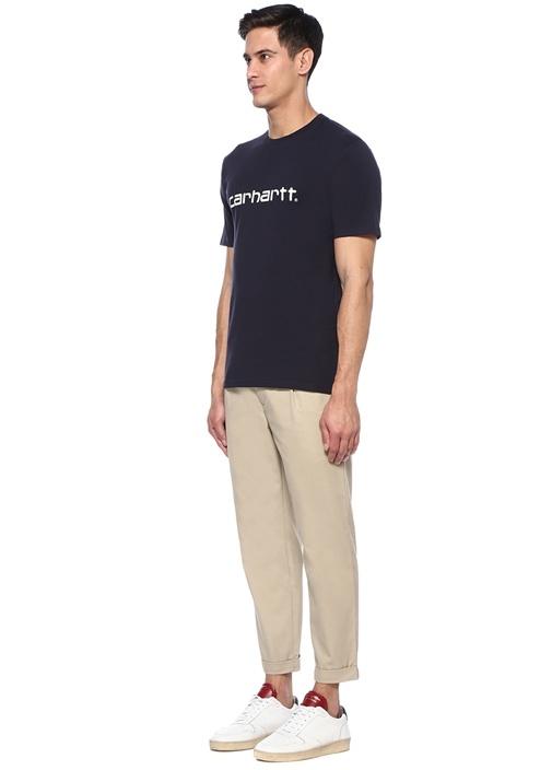 Script Mavi Bisiklet Yaka Baskılı BasicT-shirt