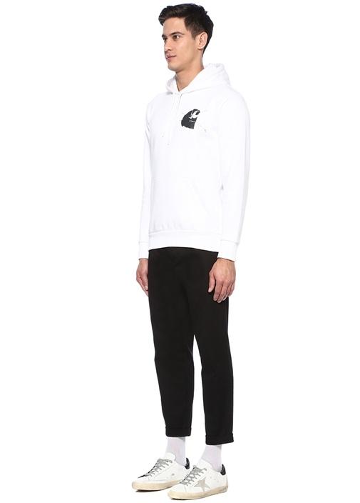 Mirror Beyaz Kapüşonlu Baskılı Sweatshirt