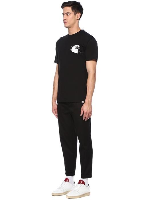 Mirror Siyah Bisiklet Yaka Baskılı Basic T-shirt