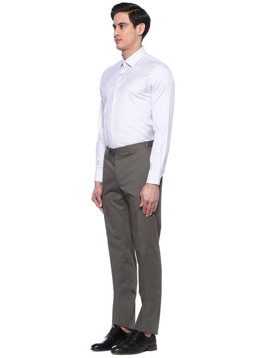 Custom Fit Beyaz Kareli İngiliz Yaka Gömlek
