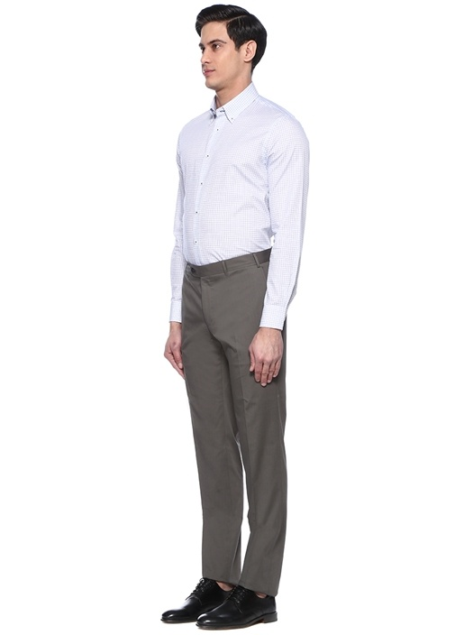 Custom Fit Mavi Beyaz Kareli Gömlek