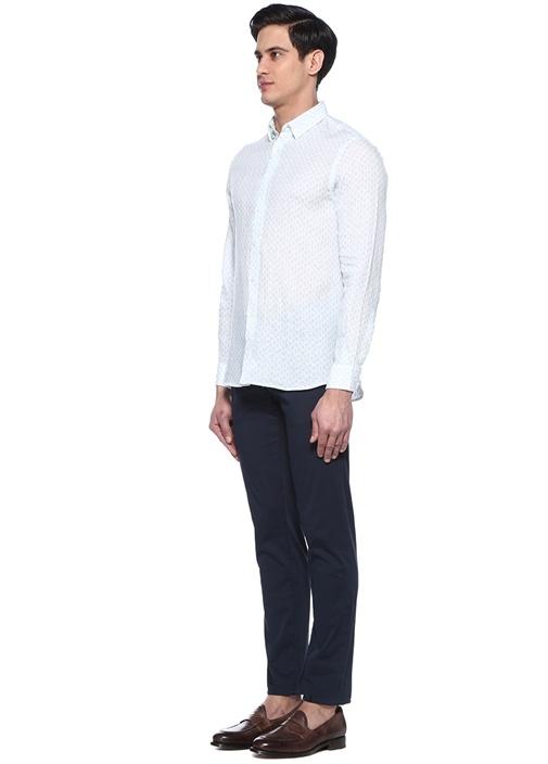Comfort Fit Mavi Beyaz Şal Desenli Keten Gömlek