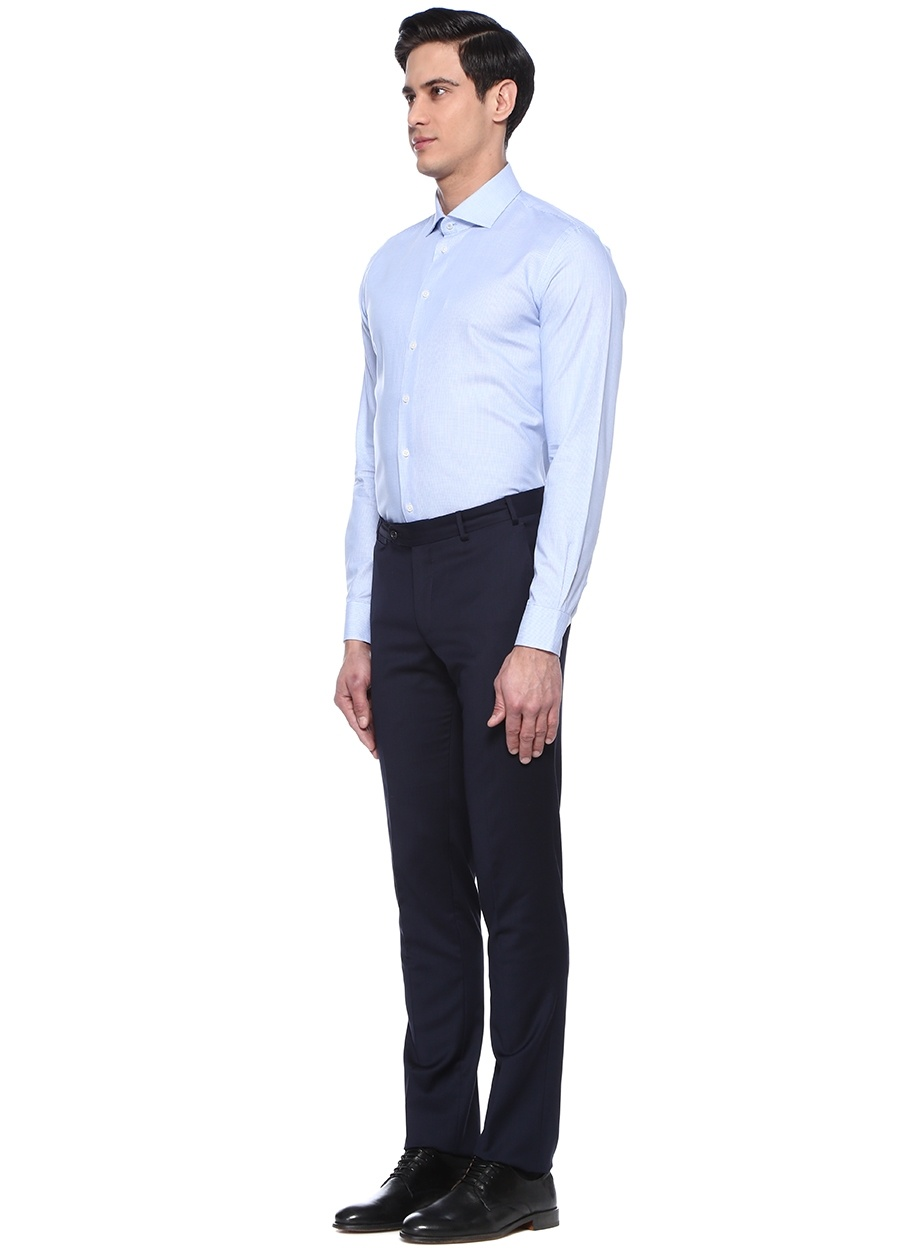 451561b5afe54 Modalite - Beymen BEYMEN COLLECTION Slim Fit Mavi Mikro Desenli Gömlek