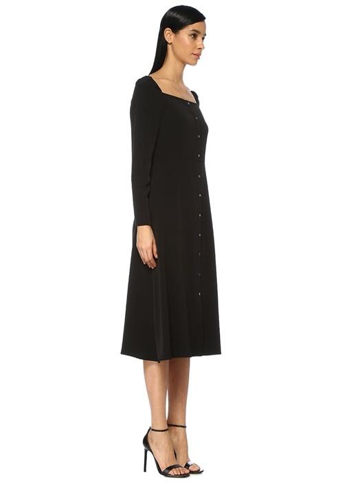 Siyah Kare Yaka Uzun Kol Midi Krep Elbise