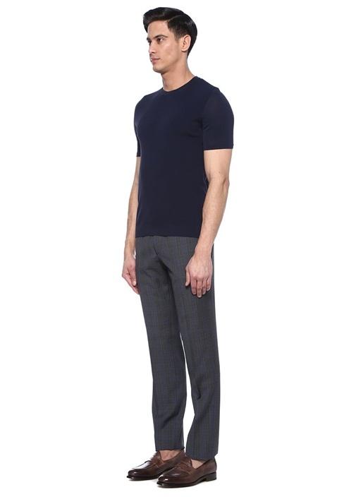 Drop 8 Lacivert Ekoseli Beli Bağcıklı Yün Pantolon