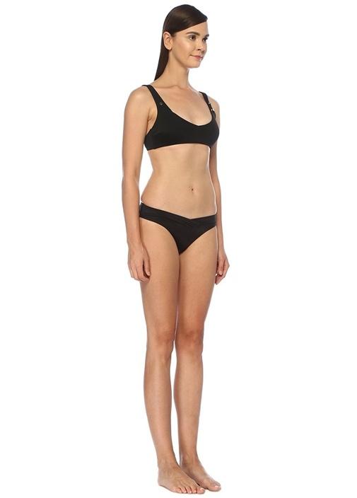 Siyah Asimetrik Bel Kesimli Bikini Altı