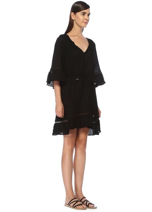 Sea Stripe Siyah Bağcıklı Mini Plaj Elbisesi