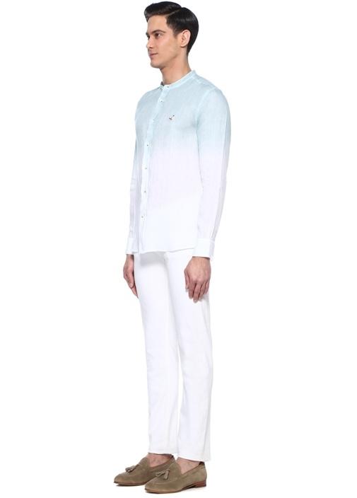 Slim Fit Yeşil Beyaz Hakim Yaka Keten Gömlek