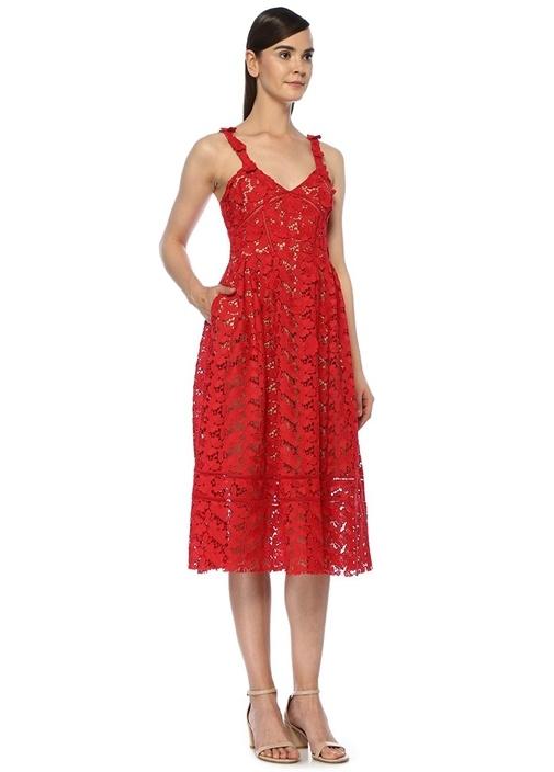 Kırmızı V Yaka Pileli Midi Dantel Elbise