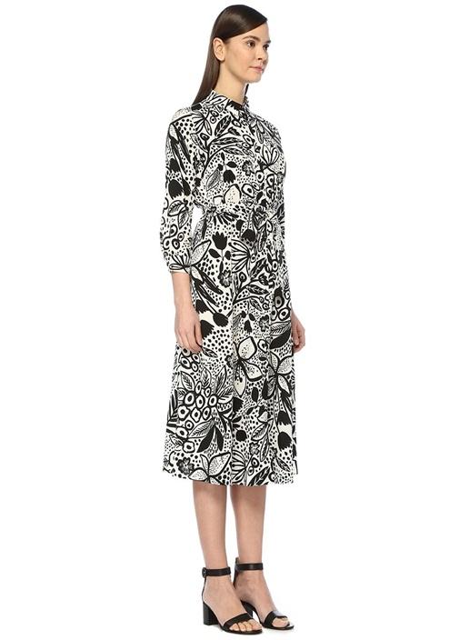 Siyah Beyaz Çiçek Desenli Midi Gömlek Elbise