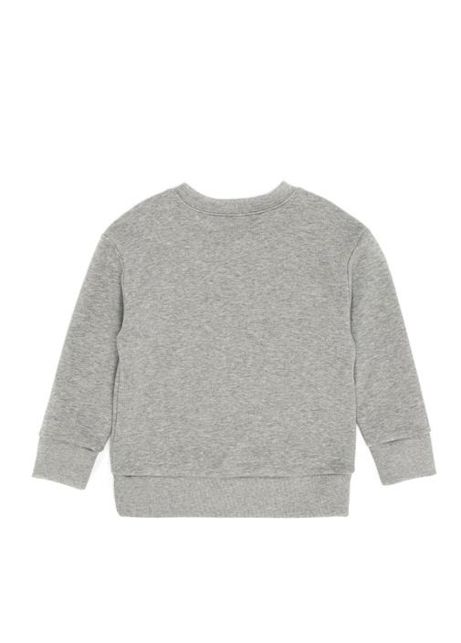 Gri Payetli Logo İşlemeli Kız Çocuk Sweatshirt