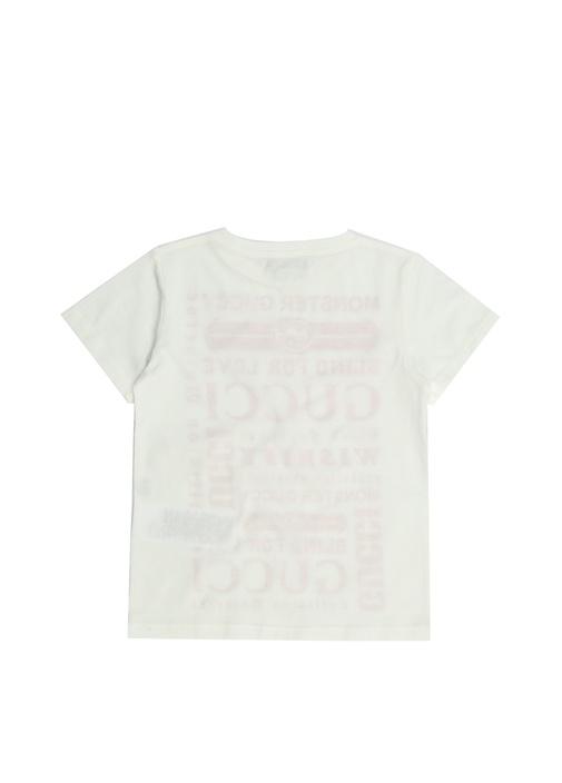 Beyaz Pembe Logolu Kız Çocuk T-shirt