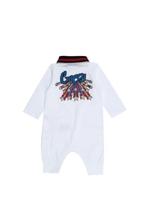 Beyaz Logo Nakışlı 3lü Kız Bebek Tulum Seti